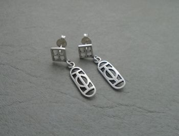Attractive sterling silver open work drop earrings