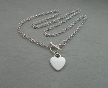 Sterling silver toggle necklace with a single heart charm