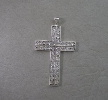 Large sterling silver & clear stoned cross pendant