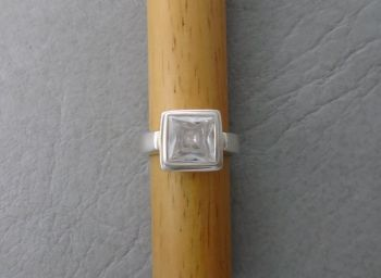Chunky square sterling silver solitaire ring