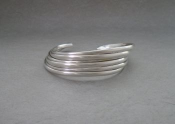 Solid sterling silver multi-layer effect cuff