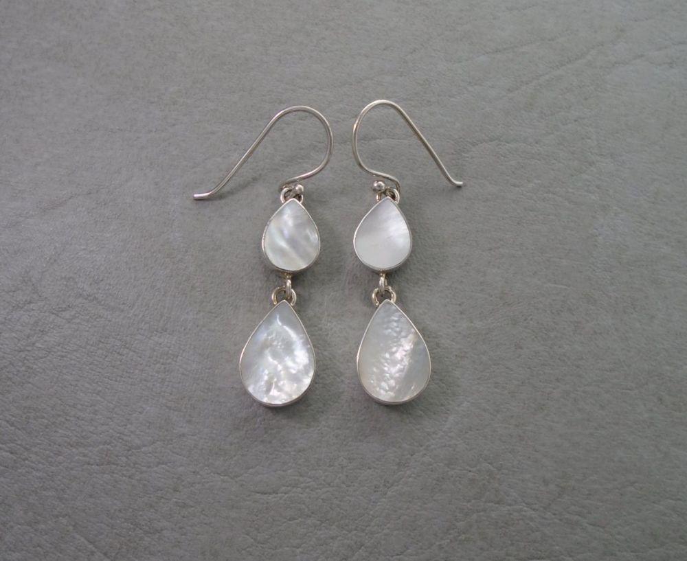 Sterling silver & Mother of Pearl teardrop earrings