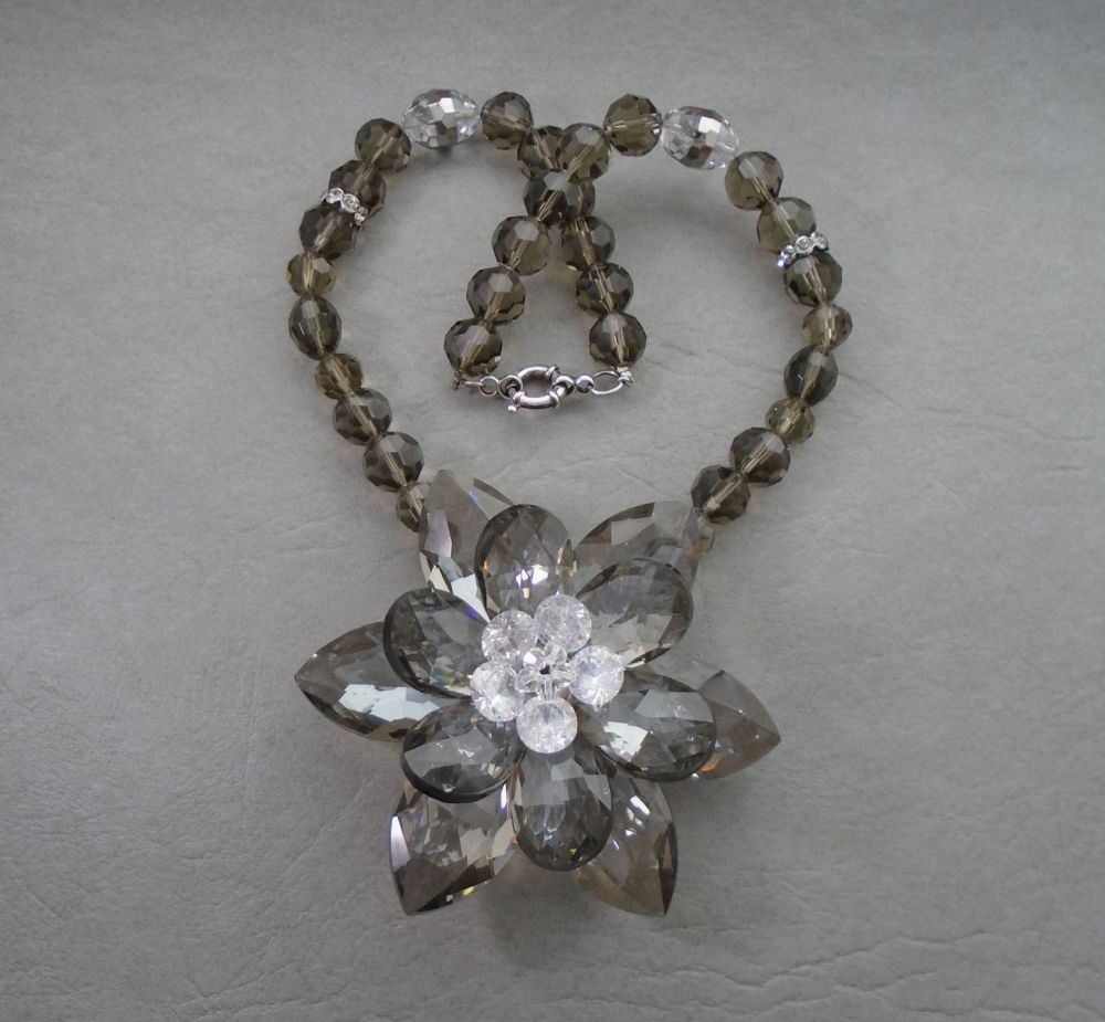 Huge crystal flower necklace with a sterling silver clasp