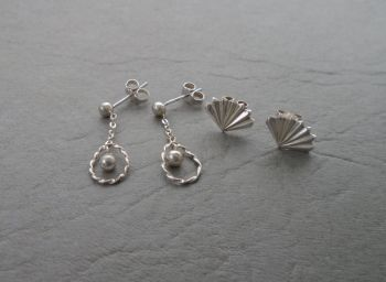 2 pairs of sterling silver earrings