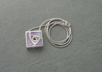 Sterling silver & pink Mother of Pearl rose necklace