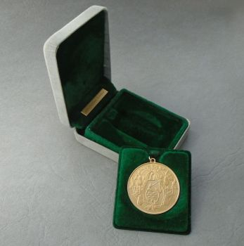 Gilt sterling silver 'Partridge in a pear tree' commemorative medallion pendant, original box