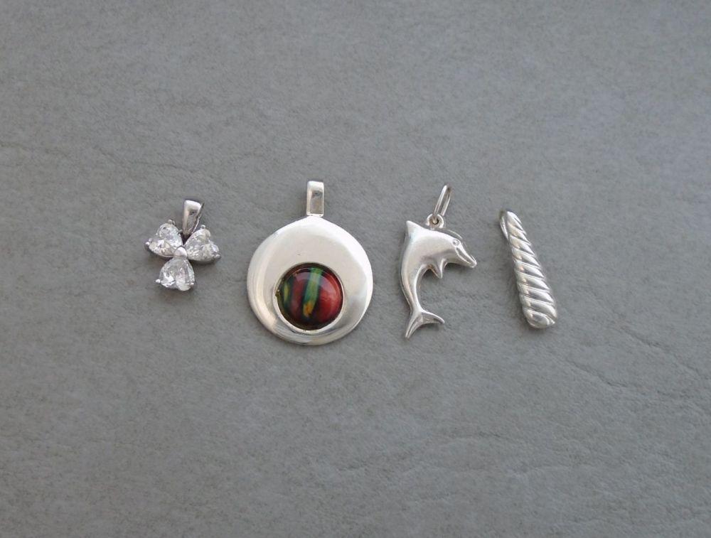 4 x sterling silver pendants
