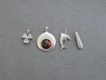 4 x sterling silver pendants