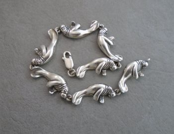 Rare solid sterling silver Manatee / Sea Cow bracelet