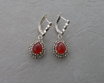 Elegant sterling silver, marcasite & carnelian teardrop earrings
