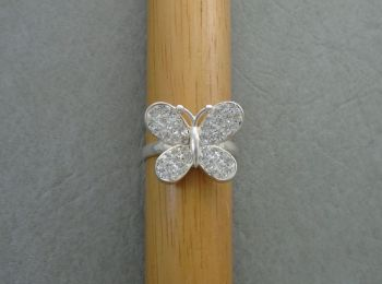 Sterling silver pave set butterfly ring