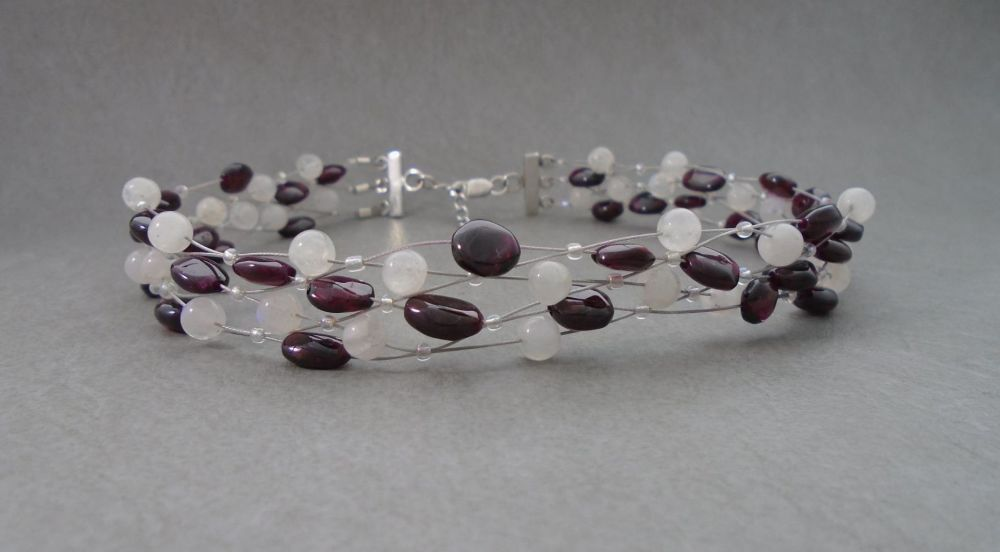 Sterling silver, garnet & moonstone choker necklace