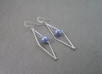 Long sterling silver earrings with faux pearl droppers