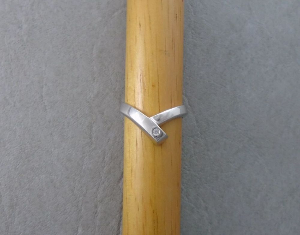 Sterling silver double wishbone ring set with a single stone
