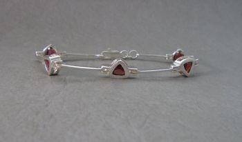 Sterling silver & triangular garnet bracelet