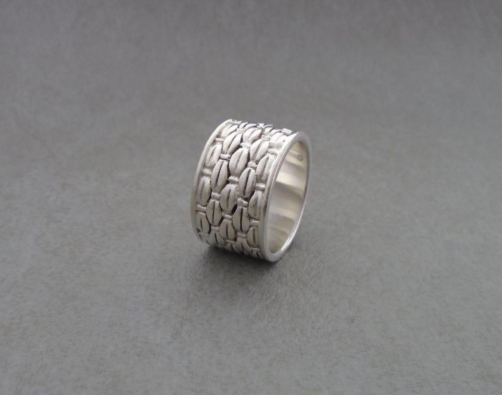 Wide sterling silver basket weave ring