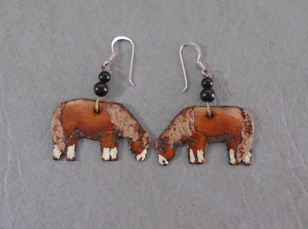 Unique handmade wood burned horse earrings with sterling silver hooks