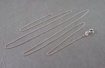 "Italian sterling silver curb chain (24"", 1mm)"