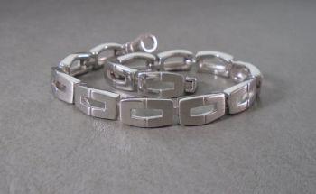 Sterling silver bracelet with half polish & half matt finished panels