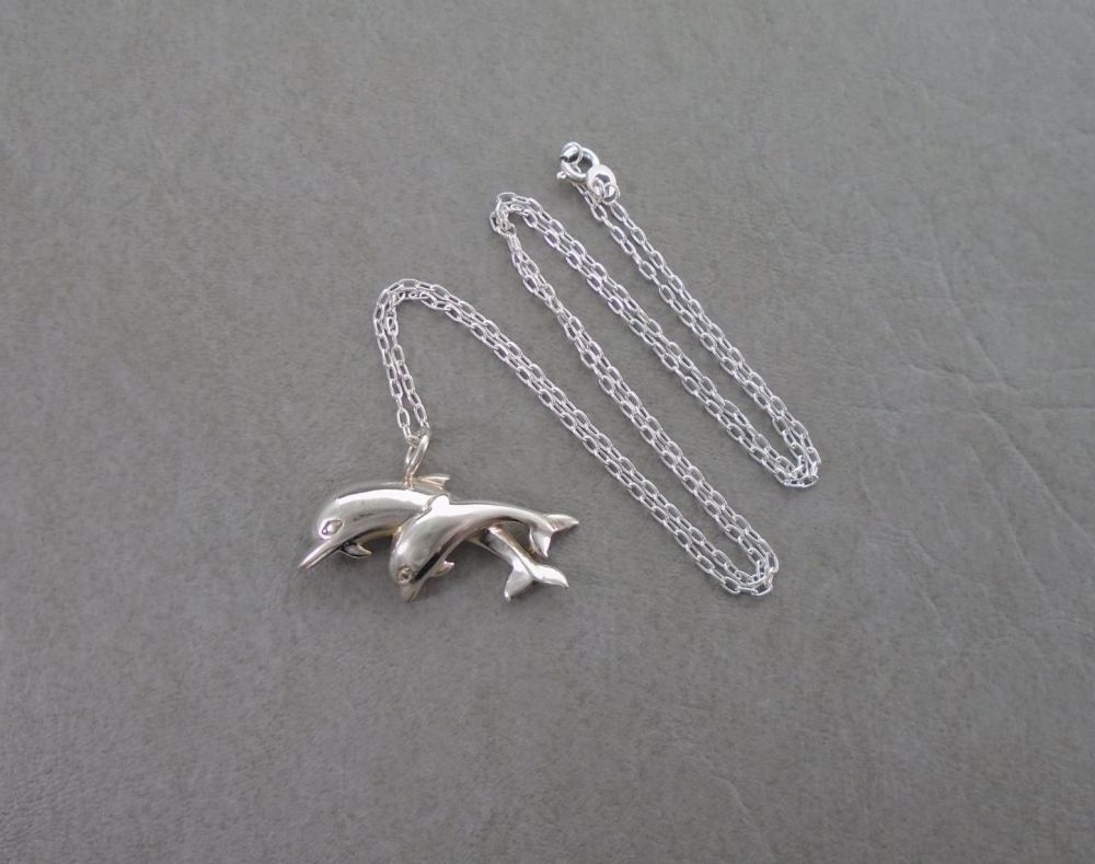 Sterling silver dolphins necklace