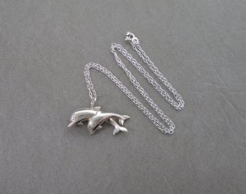Sterling silver jumping Dolphins necklace