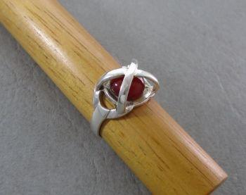Unusual sterling silver & carnelian ring