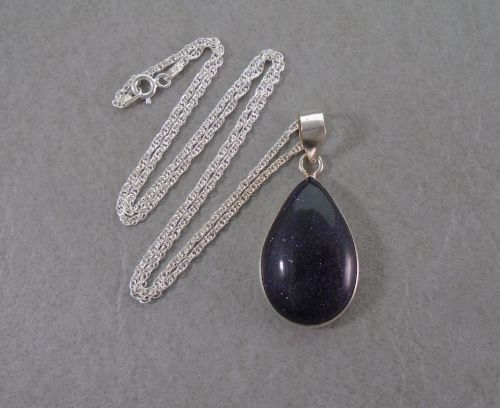 Sterling silver & blue goldstone necklace