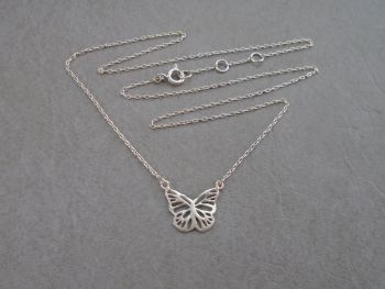 Dainty sterling silver butterfly necklace
