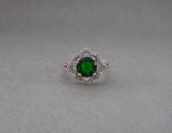 Unusual sterling silver, green & clear cocktail ring