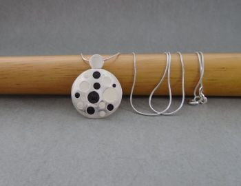 Sterling silver necklace with black & white enamel spots