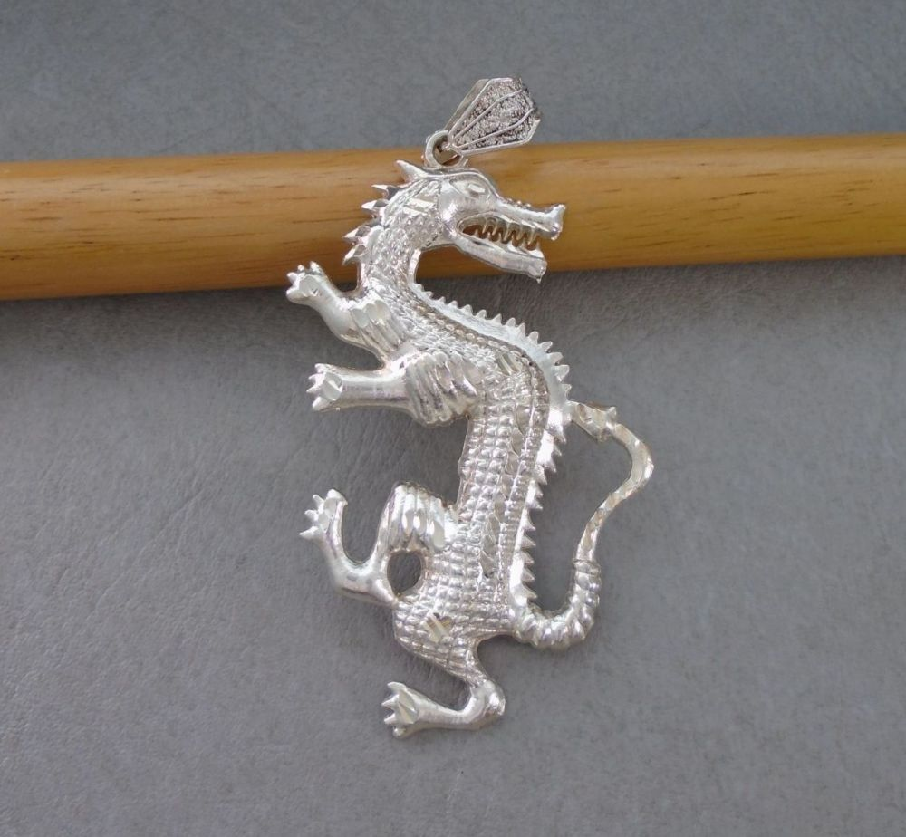 Large sterling silver textured dragon pendant
