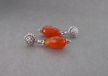 Fancy sterling silver & faceted carnelian drop earrings