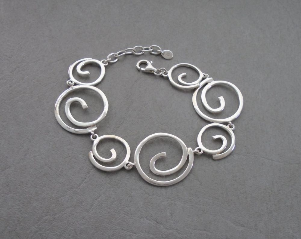 Sterling silver swirls bracelet
