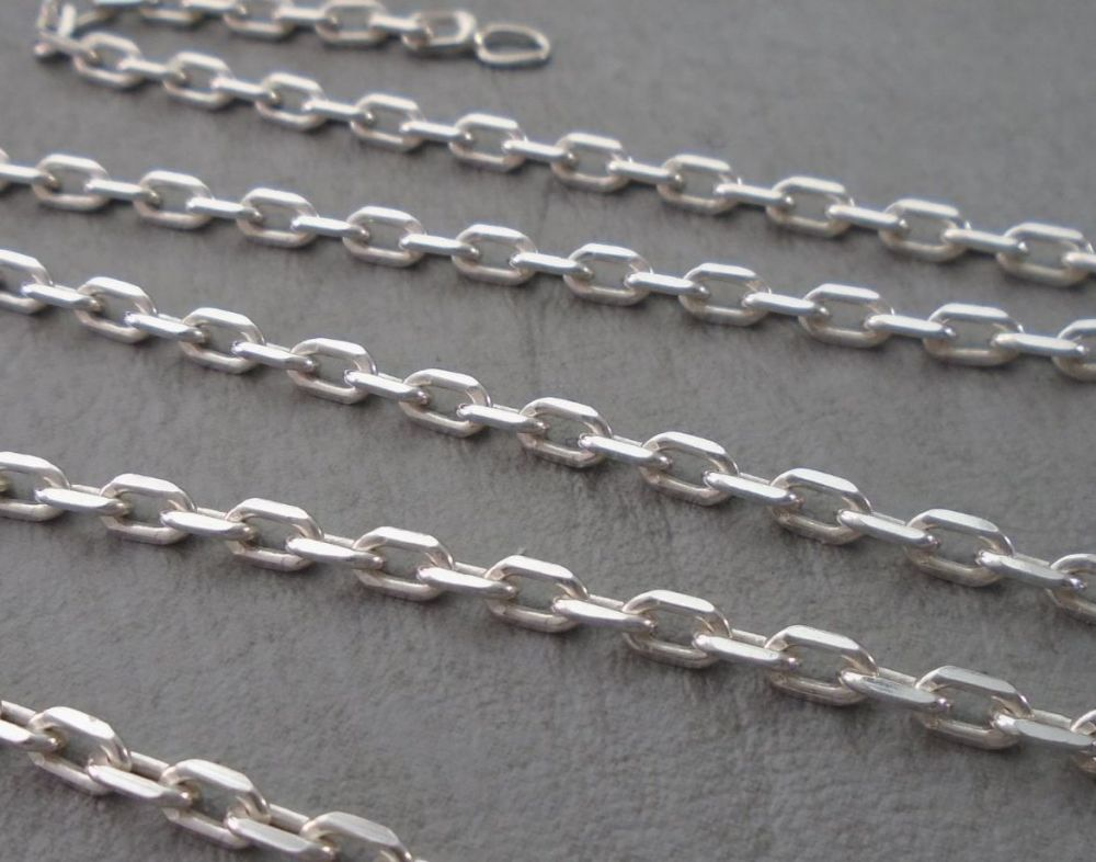 "Sterling silver angled trace chain (20"", 3mm)"
