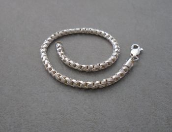 "Fancy twisted sterling silver chain bracelet (7.5"", 3mm round)"