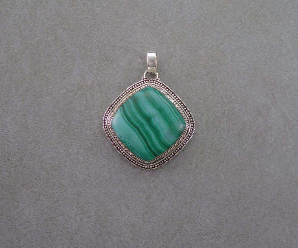 Chunky sterling silver framed malachite pendant