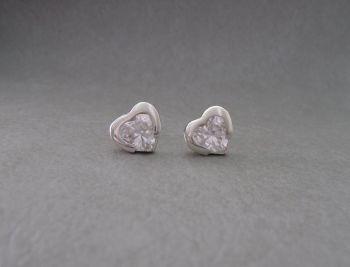 Sterling silver & clear stone heart earrings