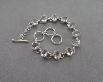 Sterling silver & clear stone toggle bracelet