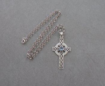 Celtic sterling silver & topaz cross necklace