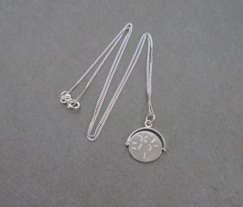 Sterling silver 'I love you' spinner necklace