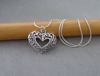 Sterling silver puffy cut-out heart necklace