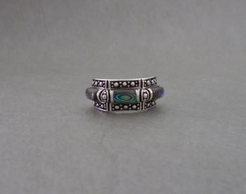 Fancy sterling silver & abalone ring