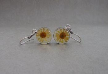 Sterling silver framed real flower earrings