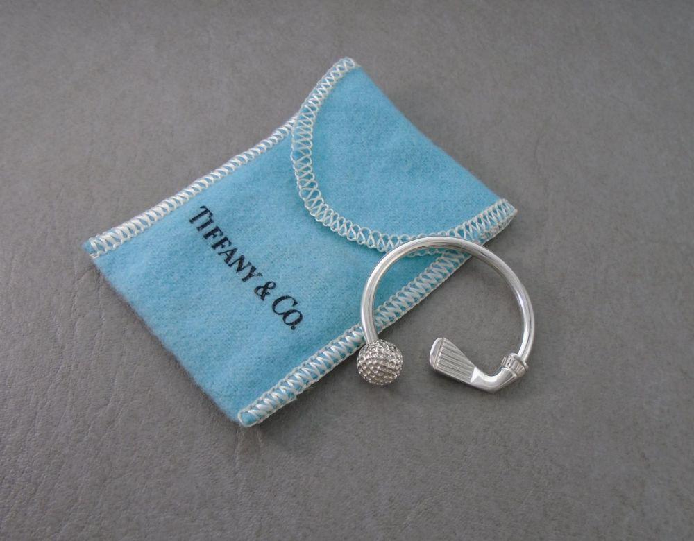 Tiffany & Co sterling silver golf / golfing keyring, including original pou