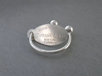 Tiffany & Co sterling silver keyring with large oval tag