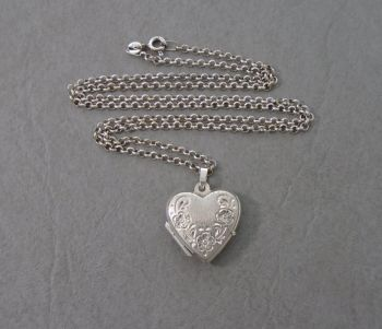 Sterling silver floral engraved heart shape locket & chain