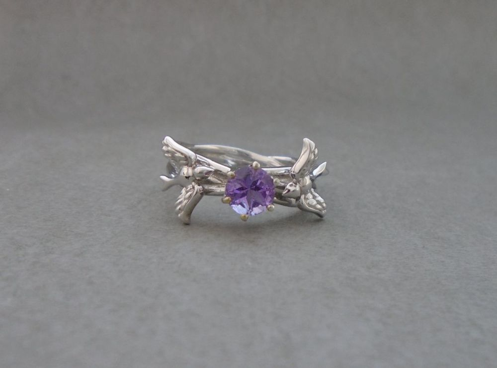 Sterling silver multi-band effect ring with birds & lilac stone