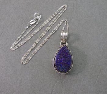 Sterling silver & druzy quartz teardrop necklace
