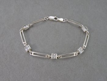 Sterling silver bracelet with open rectangles & stone squares