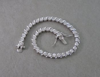 Fancy sterling silver & clear stone tennis bracelet
